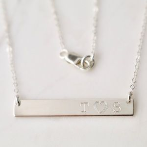 Sterling Silver Engraved Lovers Initials Necklace